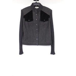 St john women's L snap button jacket velour pocket